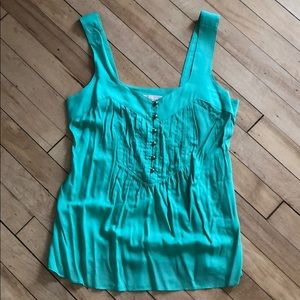 Sea green tank with front button detail